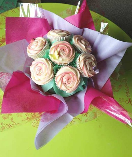 cupcake bouquet white green