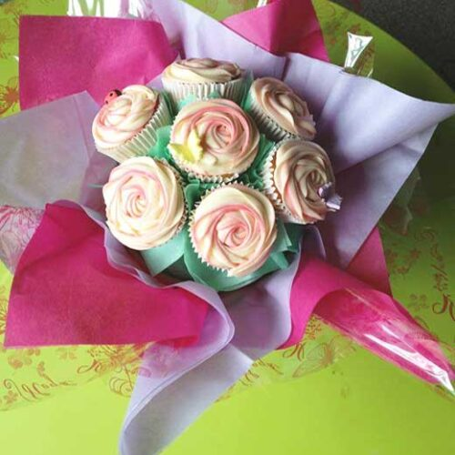 cupcake bouquet white green