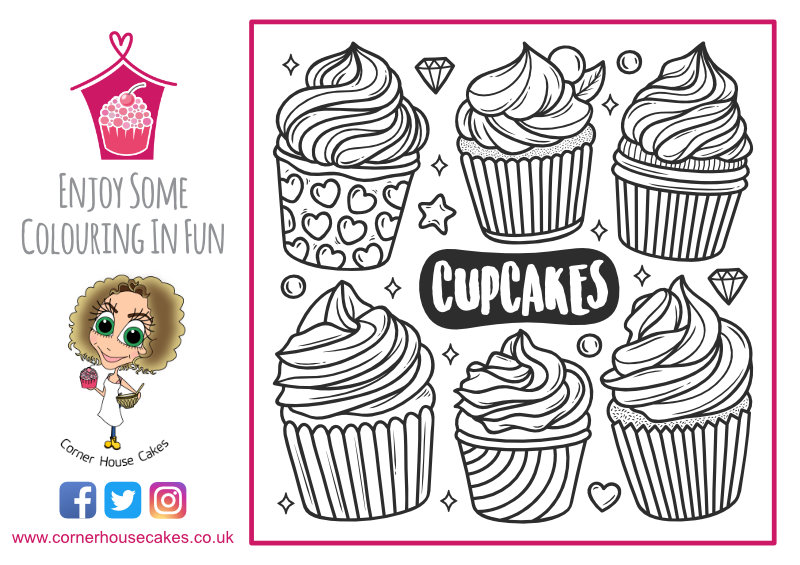 corner house cakes 6 cupcakes colouring in