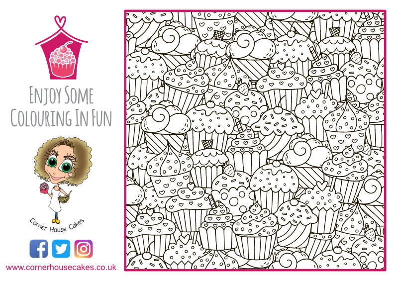 corner house cakes cupcakes colouring in