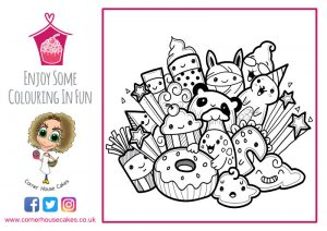 corner house cakes monsters cakes colouring in