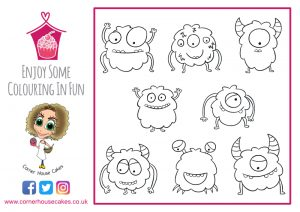 corner house cakes monsters colouring in