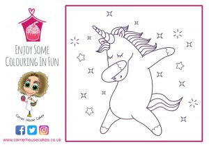 corner house cakes unicorn dancing colouring in