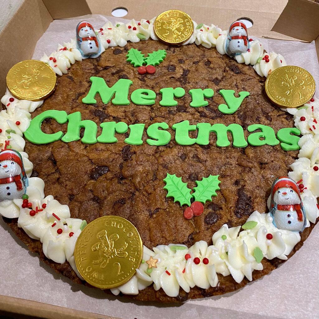 Giant Christmas Choc Chip Cookie Cornerhouse Cakes