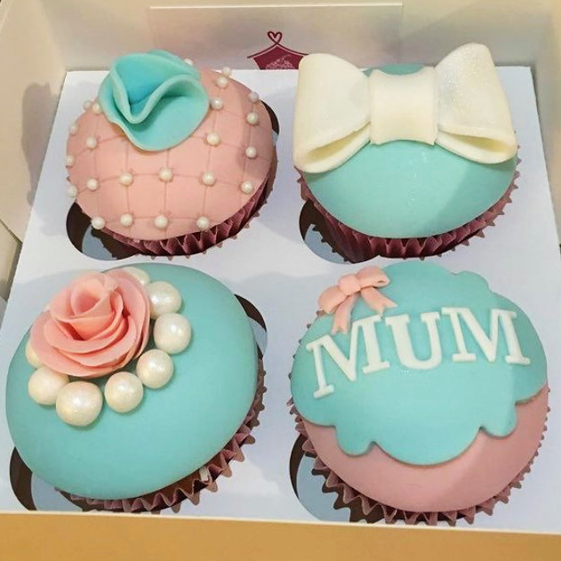 Corner House Cakes Mothers Day Aqua Pink Cupcake Box