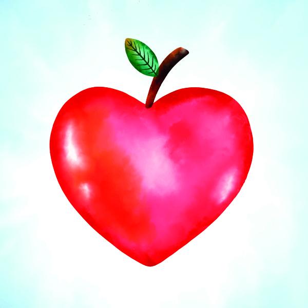 School Leavers Heart Shaped Apple